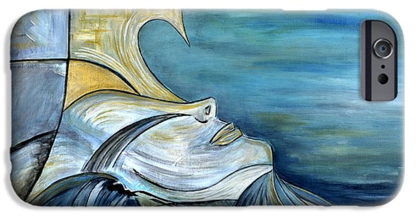 Exploring Paintings iPhone Cases - Beautiful Mysterious Blue Woman Portrait La Sirene French For Mermaid Mythic Siren Original Painting iPhone Case by Marie Christine Belkadi