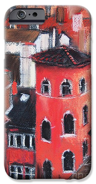 White House Pastels iPhone Cases - La Tour Rose In Lyon 1 iPhone Case by Mona Edulesco