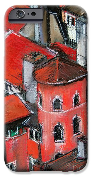 White House Pastels iPhone Cases - La Tour Rose In Lyon 2 iPhone Case by Mona Edulesco