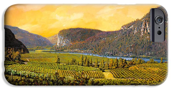 Streams iPhone Cases - La Vigna Sul Fiume iPhone Case by Guido Borelli