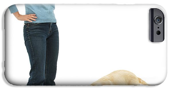 Disobedient iPhone Cases - Labrador Golden Retriever Pup Chewing iPhone Case by Mark Taylor