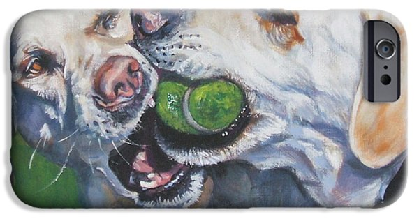 Tennis Paintings iPhone Cases - Labrador Retriever Yellow Buddies iPhone Case by L A Shepard