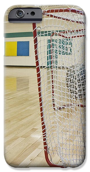 Lacrosse Goals in a Gymnasium iPhone Case by Marlene Ford