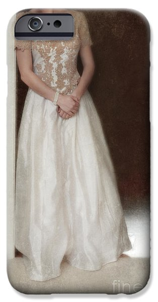 Ball Gown Photographs iPhone Cases - Lacy in Ecru Lace Gown iPhone Case by Jill Battaglia