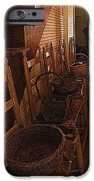 Ladder Back Chairs iPhone Cases - Ladder Backs and Baskets I iPhone Case by Sheri McLeroy