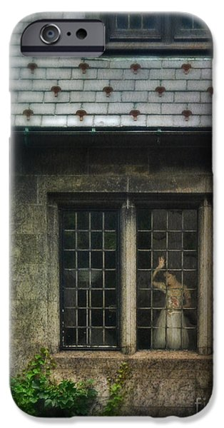 Lady by Window of Tudor Mansion iPhone Case by Jill Battaglia