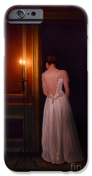 Ball Gown iPhone Cases - Lady in Candle Light iPhone Case by Jill Battaglia