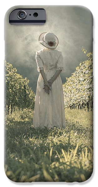 Rural iPhone Cases - Lady In Vineyard iPhone Case by Joana Kruse
