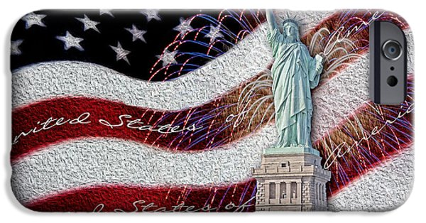 Empire State iPhone Cases - Lady Liberty iPhone Case by Susan Candelario