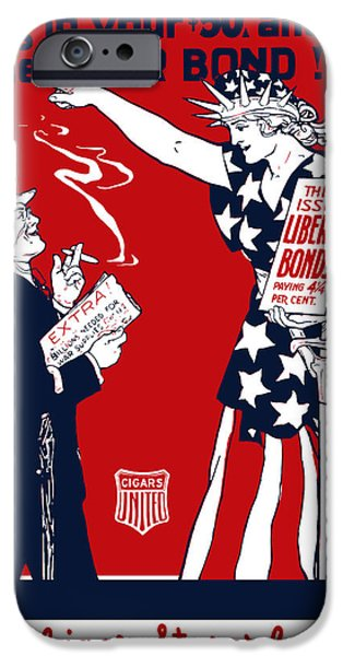 One iPhone Cases - Lady Liberty War Bonds iPhone Case by War Is Hell Store