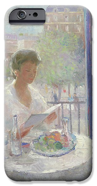 French Open Paintings iPhone Cases - Lady Reading at an Open Window  iPhone Case by Clementine Helene Dufau
