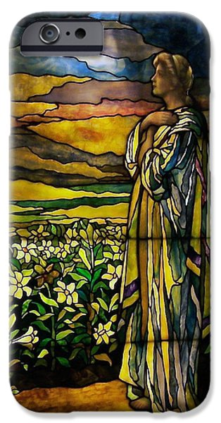 Lady Stained Glass Window iPhone Case by Thomas Woolworth