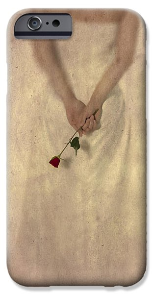 Lady with a rose iPhone Case by Joana Kruse