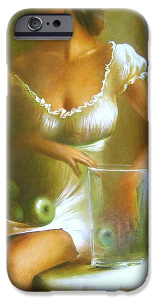 Abstract Expressionism iPhone Cases - Lady with green apples iPhone Case by Vali Irina Ciobanu