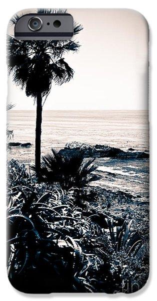 Getaway iPhone Cases - Laguna Beach California Black and White iPhone Case by Paul Velgos