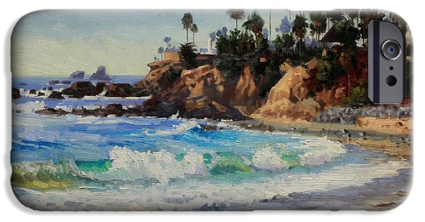 Flying Seagull Paintings iPhone Cases - Laguna Beach  iPhone Case by Gary Kim