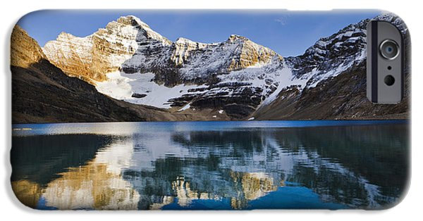 Distant iPhone Cases - Lake Mcarthur And Mount Biddle iPhone Case by Yves Marcoux