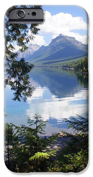 Glacier iPhone Cases - Lake McDlonald Through the Trees Glacier National Park iPhone Case by Marty Koch