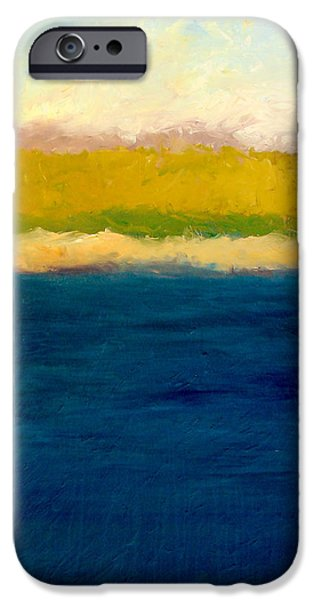 Dunes Paintings iPhone Cases - Lake Michigan Beach Abstracted iPhone Case by Michelle Calkins
