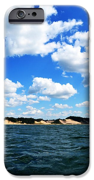 Michelle Photographs iPhone Cases - Lake Michigan Shore with Clouds iPhone Case by Michelle Calkins