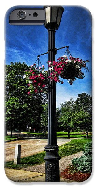 Clouds Photographs iPhone Cases - Lamp Post in the Park iPhone Case by Lourry Legarde