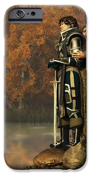 Knighthood iPhone Cases - Lancelot and Guinevere iPhone Case by Daniel Eskridge