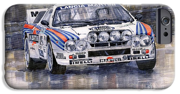 Sports Cars iPhone Cases - Lancia 037 Martini Rally 1983 iPhone Case by Yuriy  Shevchuk