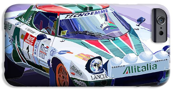 Racing iPhone Cases - Lancia Stratos Alitalia Rally Catalonya Costa Brava 2008 iPhone Case by Yuriy  Shevchuk