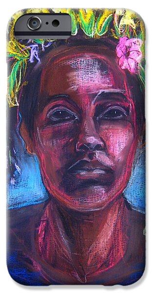 Native American Spirit Portrait iPhone Cases - Land of Plenty iPhone Case by Gabrielle Wilson-Sealy