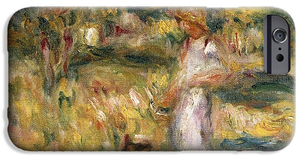 Woman In A Dress iPhone Cases - Landscape with a Woman in Blue iPhone Case by Pierre Auguste Renoir
