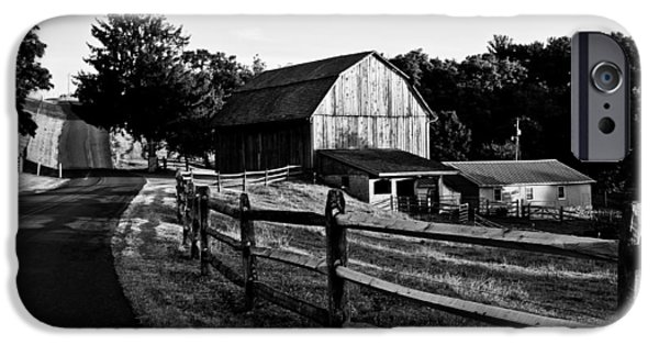 Amish Photographs iPhone Cases - Langus Farms Black and White iPhone Case by Jim Finch