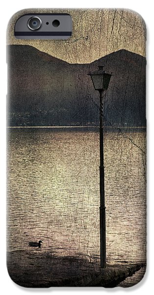 Night Lamp iPhone Cases - Lantern At The Lake iPhone Case by Joana Kruse