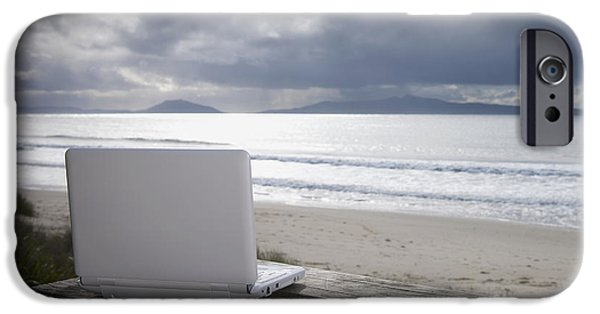 Hobart iPhone Cases - Laptop Computer At Beach iPhone Case by Dave & Les Jacobs