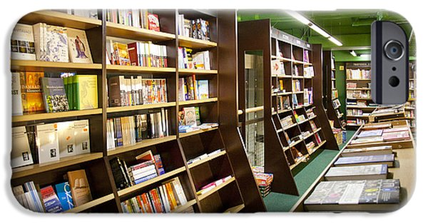 Bookcase iPhone Cases - Large Bookstore Interior iPhone Case by Jaak Nilson