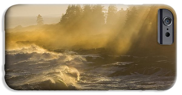 Maine Shore iPhone Cases - Large Waves Lightbeams Pemaquid Point Maine iPhone Case by Keith Webber Jr