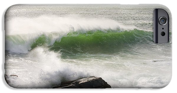 Maine iPhone Cases - Large Waves Seascape Acadia National Park Photo Print  iPhone Case by Keith Webber Jr
