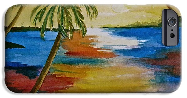 Palm Tree Greeting Cards iPhone Cases - Last Light iPhone Case by Donna Steward
