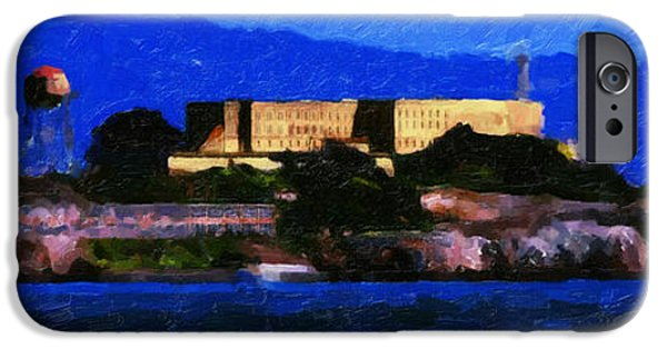 Alcatraz iPhone Cases - Last Light Over Alcatraz . Panorama Cut iPhone Case by Wingsdomain Art and Photography