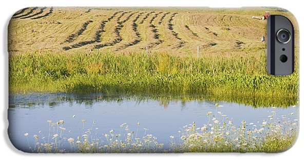 Maine Farms iPhone Cases - Late Summer Hay Being Harvested In Maine Canvas Poster Print iPhone Case by Keith Webber Jr