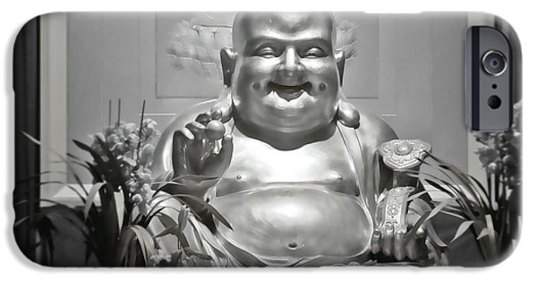 Buddhism iPhone Cases - Laughing Buddha - A symbol of joy and wealth iPhone Case by Christine Till