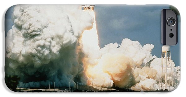 Atlantis iPhone Cases - Launch Of Shuttle Atlantis On Sts-34 iPhone Case by NASA / Science Source