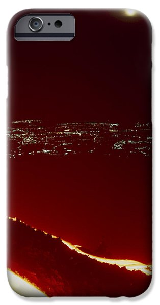 Lava Flow At Night iPhone Case by Dr Juerg Alean