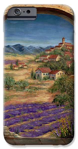 Window Paintings iPhone Cases - Lavender Fields and Village of Provence iPhone Case by Marilyn Dunlap