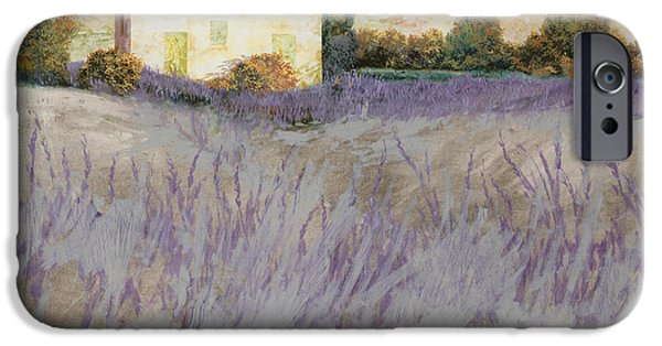 Fields iPhone Cases - Lavender iPhone Case by Guido Borelli