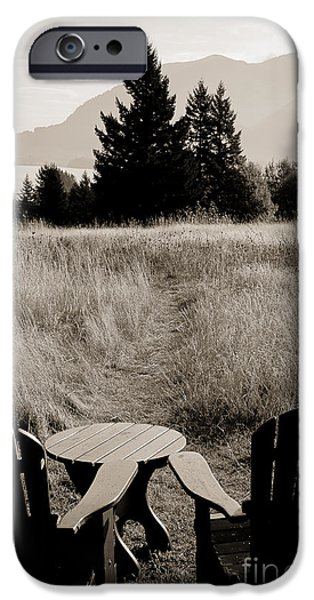 Lawn Chair View of Field iPhone Case by Darcy Michaelchuk