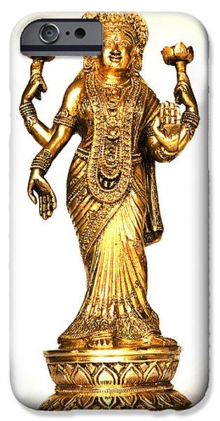 Hindu Goddess iPhone Cases - Laxmi Hindu Fortune Goddess iPhone Case by Kantilal Patel