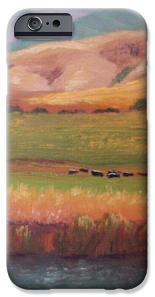 Watson Lake iPhone Cases - Lazy Grazing  iPhone Case by Margaret Bobb