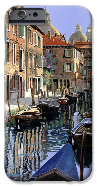 Canada iPhone Cases - Le Barche Sul Canale iPhone Case by Guido Borelli