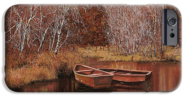 Tree Reflection iPhone Cases - Le Barche Sullo Stagno iPhone Case by Guido Borelli