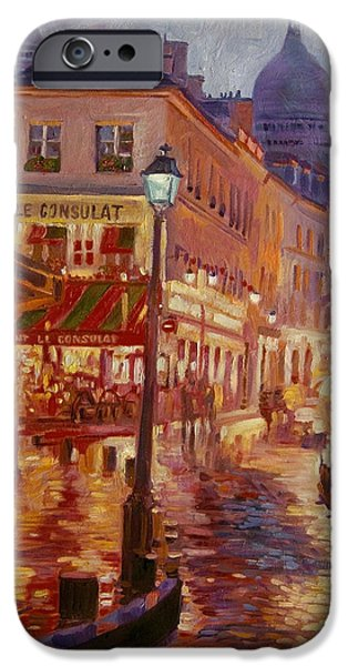 Street Scene Paintings iPhone Cases - Le Consulate Montmartre iPhone Case by David Lloyd Glover